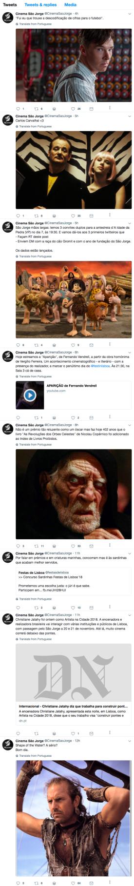 A timeline do @cinemasaojorge em Março de 2018.