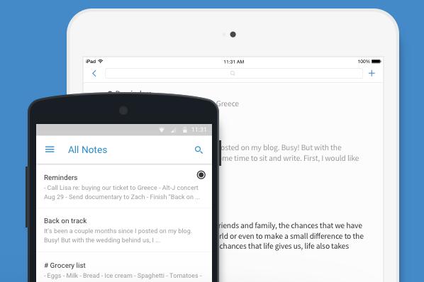 Screenshot da aplicação de notas