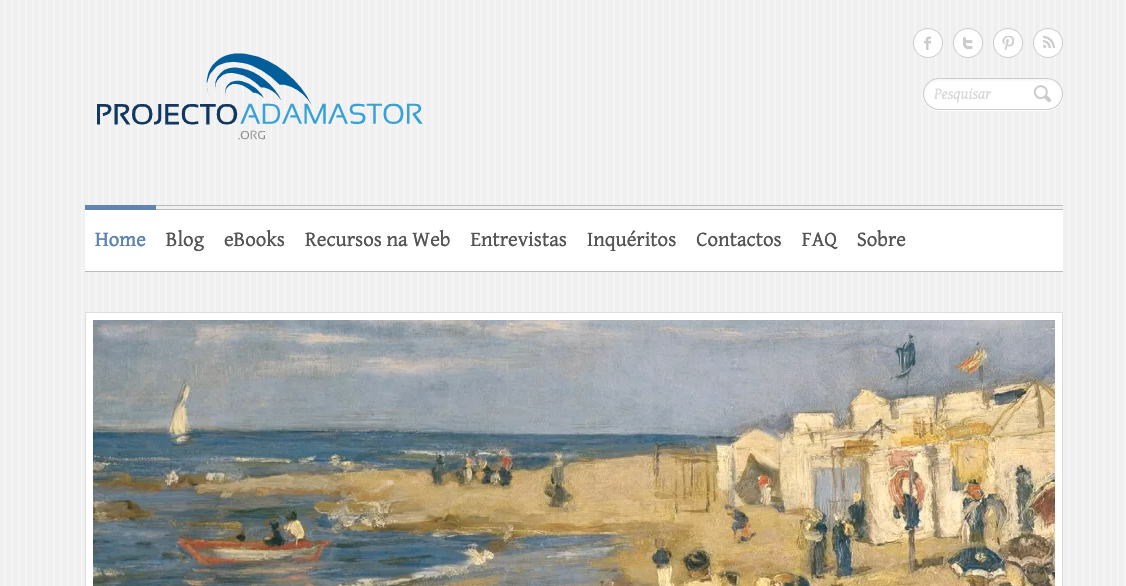 screenshot do site Projecto Adamastor